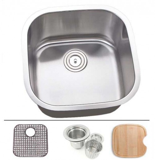 20 Inch Stainless Steel Undermount Single Bowl Kitchen Sink - 16 Gauge FREE ACCESSORIES