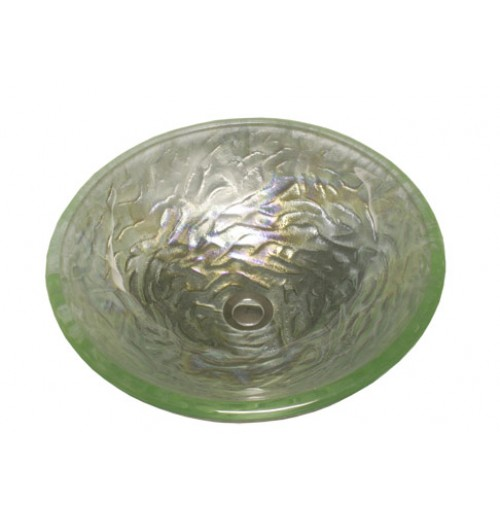 Pearl Lime Design Glass Countertop Bathroom Lavatory Vessel Sink - 16-1/2 x 5-3/4 Inch