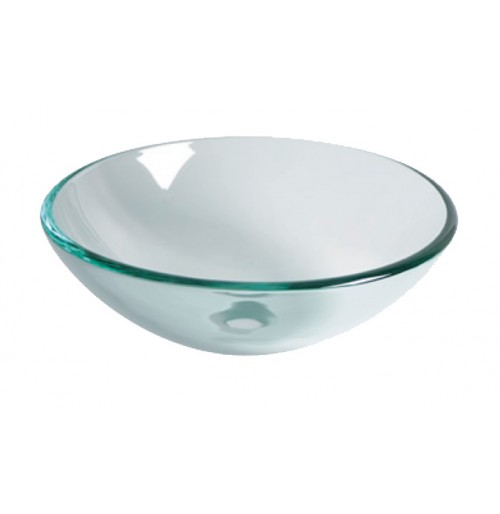 Carden Transparent Design Glass Countertop Bathroom Lavatory Vessel Sink - 16-1/2 x 5-3/4 Inch
