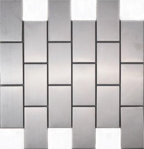 Block Shape Stainless Steel Mosaic Tile Mesh Backed Sheet