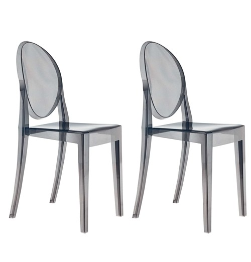 Set of 2 Victoria Style Ghost Dining Chair Smoke Color