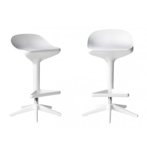 Set of 2 Citterio Style ABS Hydraulic Adjustable Spoon Stool White Color
