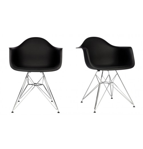 Set of 2 DAR Molded Black Plastic Dining Armchair with Steel Eiffel Legs