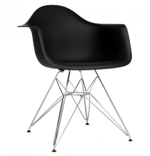 DAR Molded Black Plastic Dining Armchair with Steel Eiffel Legs