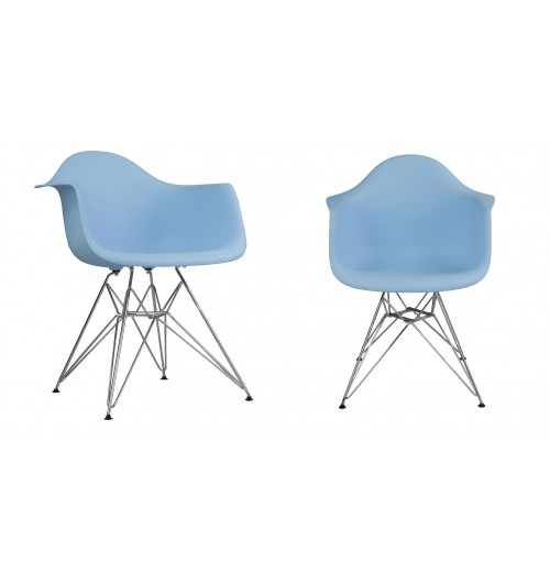 Set of 2 DAR Molded Light Blue Plastic Dining Armchair with Steel Eiffel Legs