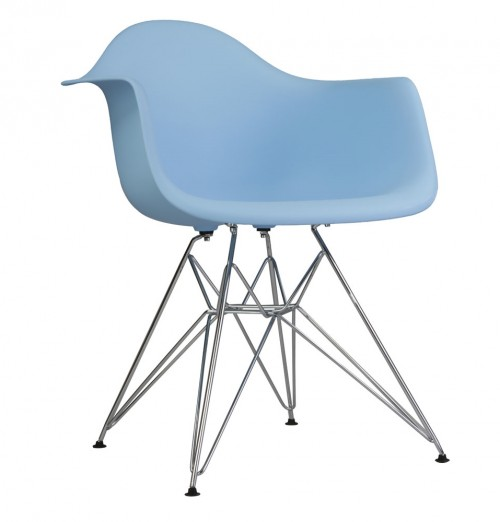 DAR Molded Light Blue Plastic Dining Armchair with Steel Eiffel Legs