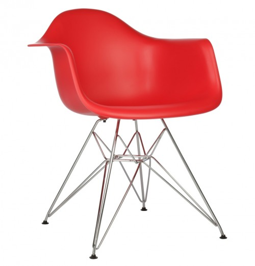 DAR Molded Red Plastic Dining Armchair with Steel Eiffel Legs
