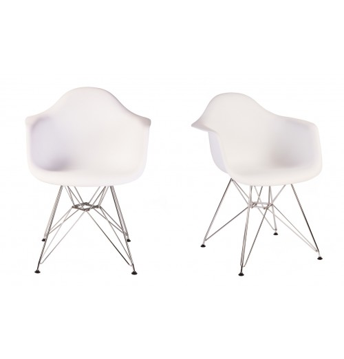 Set of 2 Eames Style DAR Molded White Plastic Dining Armchair with Steel Eiffel Legs