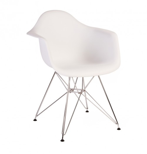 Eames Style DAR Molded White Plastic Dining Armchair with Steel Eiffel Legs