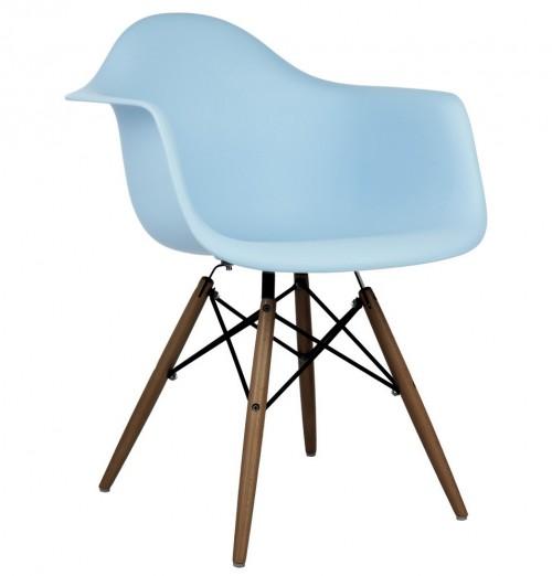 Eames Style DAW Molded Light Blue Plastic Dining Armchair with Dark Walnut Wood Eiffel Legs