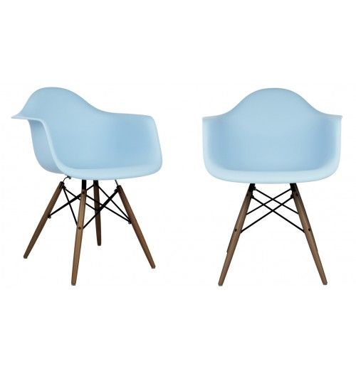 Set of 2 DAW Molded Light Blue Plastic Dining Armchair with Dark Walnut Wood Eiffel Legs