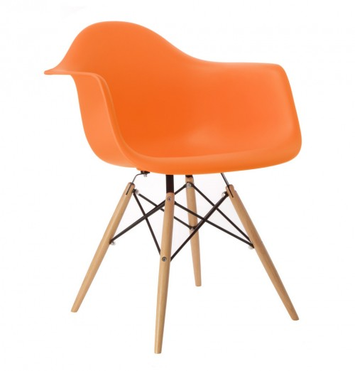 Eames Style DAW Molded Orange Plastic Dining Armchair with Wood Eiffel Legs