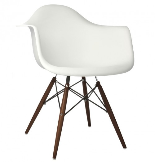 DAW Molded White Plastic Dining Armchair with Dark Walnut Wood Eiffel Legs