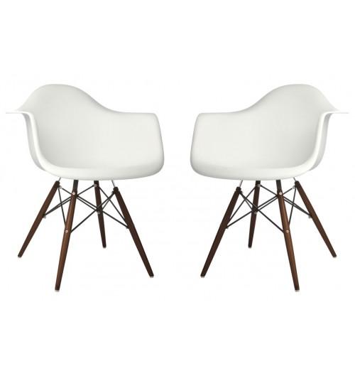 Set of 2 DAW Molded White Plastic Dining Armchair with Dark Walnut Wood Eiffel Legs