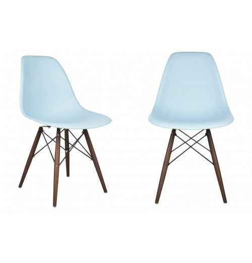 Set of 2 Eames Style DSW Molded Light Blue Plastic Dining Shell Chair with Dark Walnut Wood Eiffel Legs