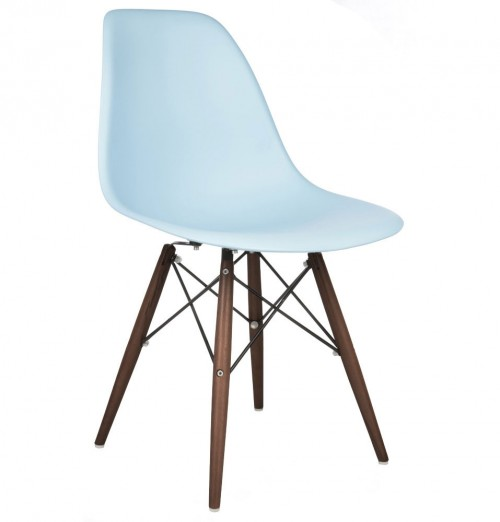 DSW Molded Light Blue Plastic Dining Shell Chair with Dark Walnut Wood Eiffel Legs