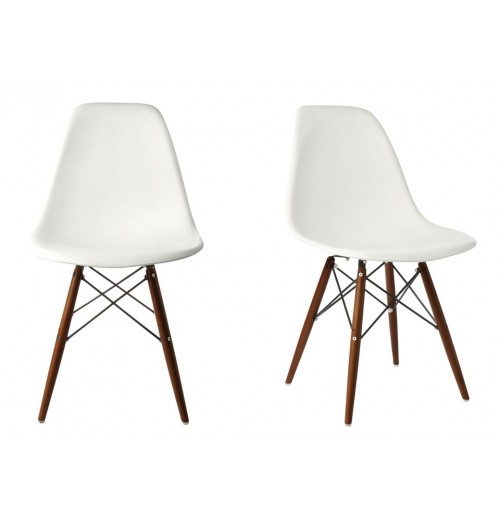 Set of 2 Eames Style DSW Molded White Plastic Dining Shell Chair with Dark Walnut Wood Eiffel Legs