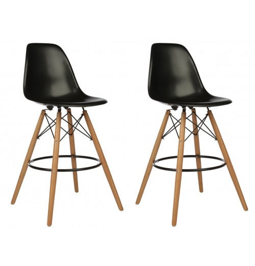 Set of 2 Eames Style DSW Black Plastic 26 Inch Counter Stool with Wood Eiffel Legs