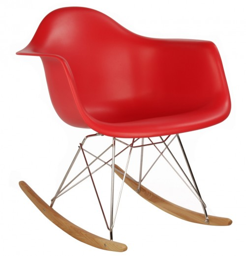Eames Style RAR Molded Red Plastic Rocking Chair with Steel Eiffel Legs