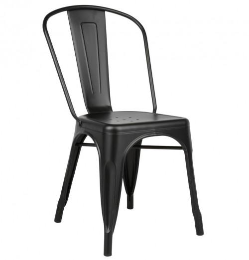 Tolix Style Matte Black Metal Industrial Loft Designer Cafe Chair