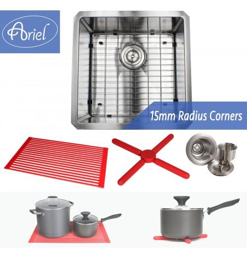 Ariel 18 Inch 16 Gauge Undermount Single Bowl Stainless Steel Sink Premium Package 15mm Radius Design
