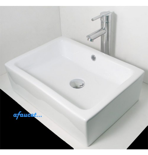 Rectangular White / Black Porcelain Ceramic Bathroom Vessel Sink - 20 x 14 x 5 Inch