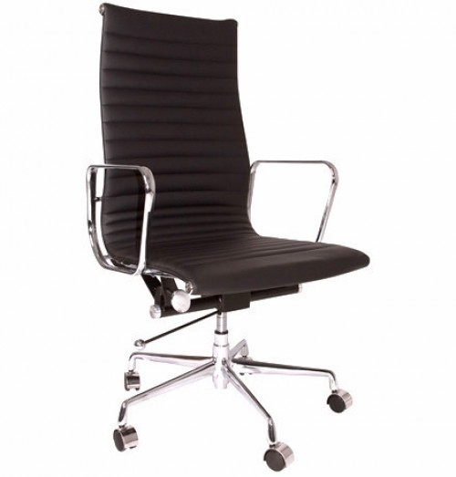 Eames Style Executive Black Top Grain Leather Designer High Office Chair