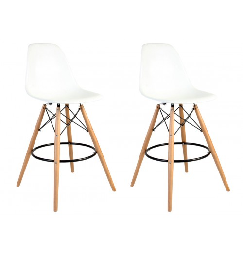 Set of 2 Eames Style DSW White Plastic 26 Inch Counter Stool with Wood Eiffel Legs