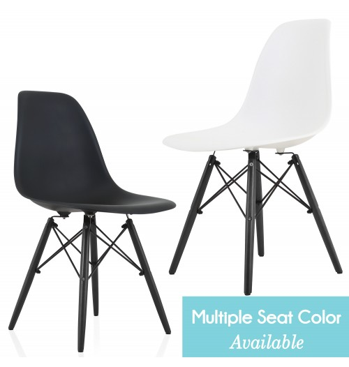 Eames Style DSW Molded Plastic Dining Side Chair with Black Wood Eiffel Legs