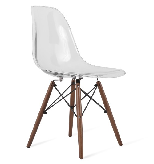 Eames Style DSW Clear Acrylic Plastic Dining Shell Chair With Dark Walnut Eif