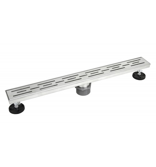 Shower Linear Drain 24 Inch – Stripe Pattern Grate – Brushed 304 Stainless Steel – Threaded Adaptor Included – Adjustable Leveling Feet