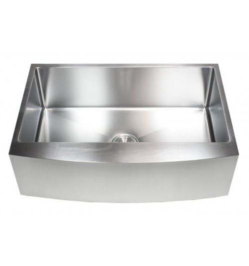 33 Inch Stainless Steel Curved Front Farm Apron Single Bowl Kitchen Sink 15mm Radius Design