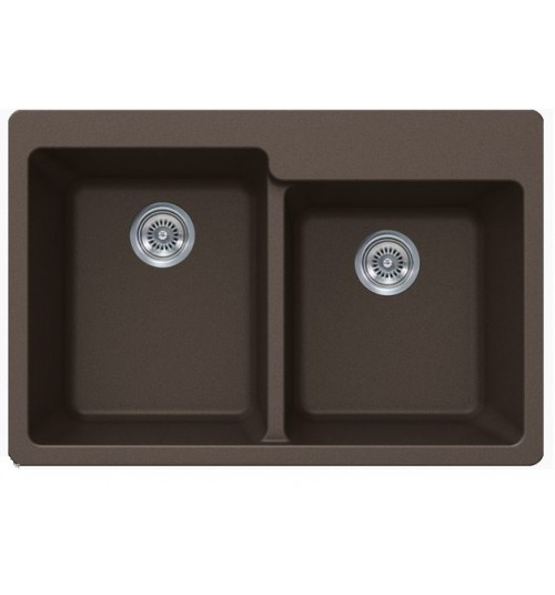 Mocha Quartz Composite 60/40 Double Bowl Undermount / Drop In Kitchen Sink - 33-1/16 x 22 x 9-3/4 Inch