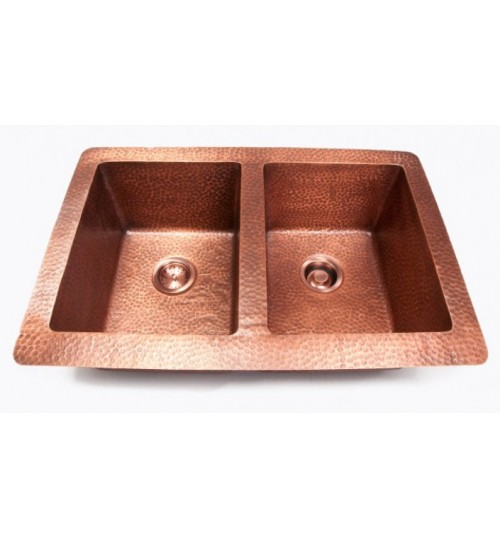 Hand Hammered Finish Copper 50/50 Double Bowl Undermount / Drop In Kitchen Sink - 33 x 22 x 10 Inch