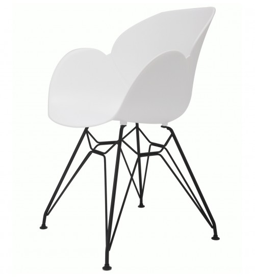 Flora White Modern Accent Dining Chair with Black Steel Legs