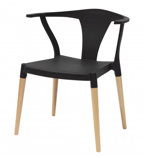 Icon Series Black Modern Accent Dining Arm Chair Beech Wood Legs
