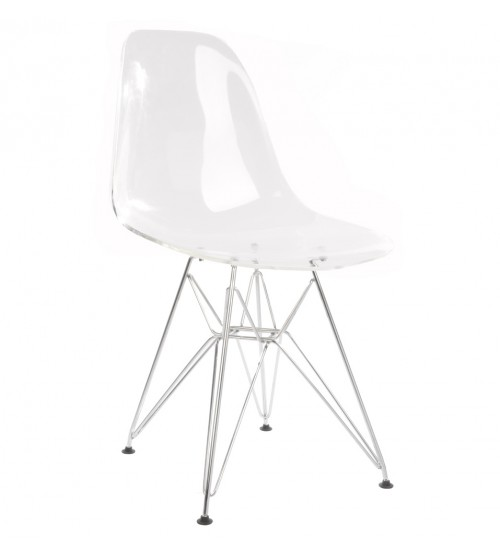 Eames Style DSR Clear Acrylic Plastic Dining Shell Chair with Steel Eiffel Legs