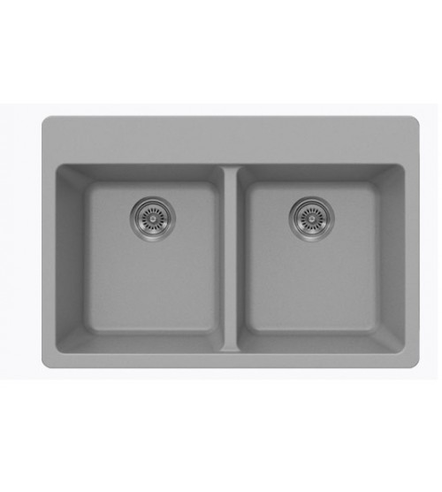 Sleek Chrome Quartz Composite Double Bowl Undermount / Drop In Kitchen Sink - 33 x 22 x 9 Inch