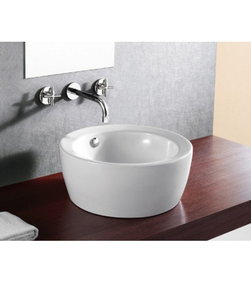 Round Porcelain Ceramic Countertop Bathroom Vessel Sink - 18 x 7-3/4 Inch