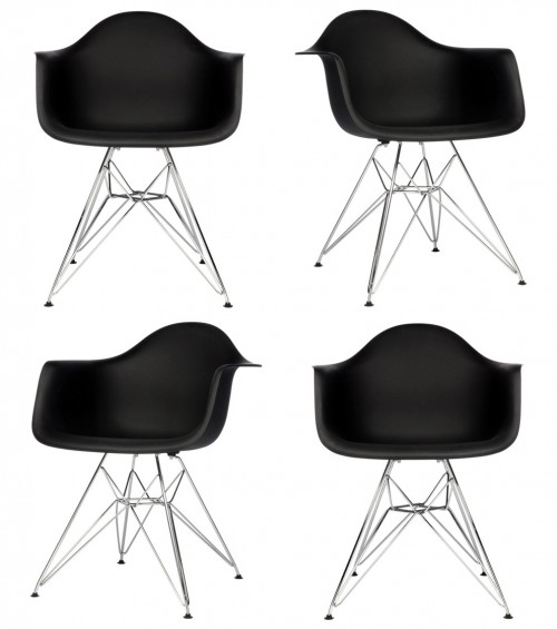 Set of 4 Eames Style DAR Molded Black Plastic Dining Armchair with Steel Eiffel Legs