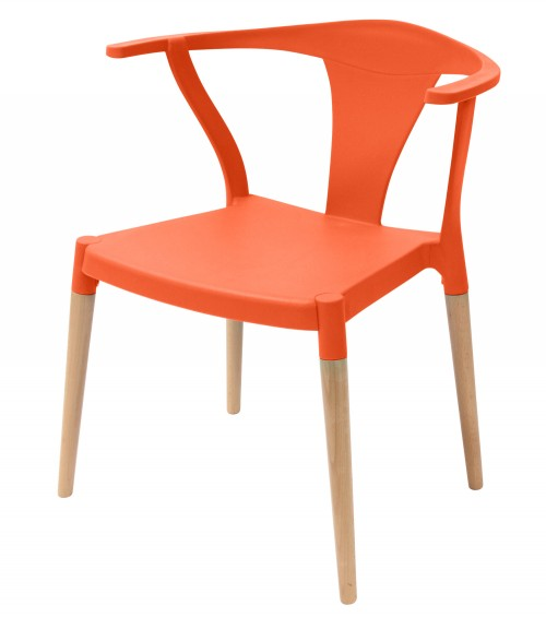 Icon Series Orange Modern Accent Dining Arm Chair Beech Wood Legs