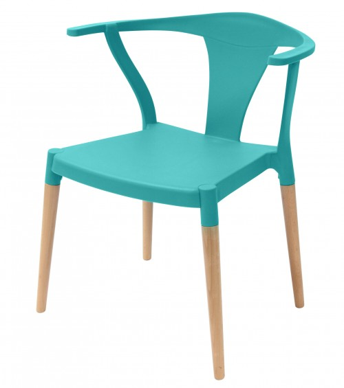 Icon Series Turquoise Modern Accent Dining Arm Chair Beech Wood Legs