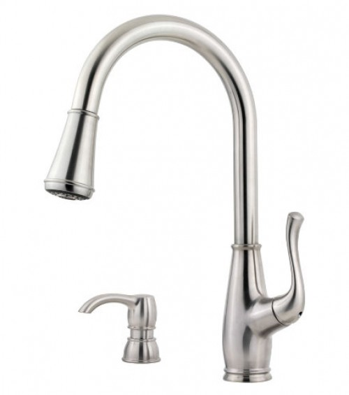 Pfister Sedgwick Lead Free Single Handle Pull Out Kitchen Faucet With Soap Dispenser