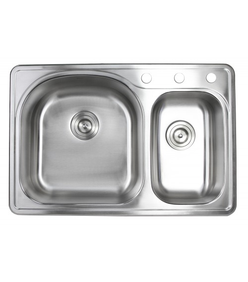 33 Inch Top-mount / Drop-in Stainless Steel 70/30 Double Bowl Kitchen Sink With 3 Faucet Holes - 18 Gauge
