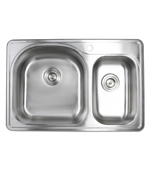 33 Inch Top-mount / Drop-in Stainless Steel 70/30 Double Bowl Kitchen Sink With 1 Faucet Hole - 18 Gauge