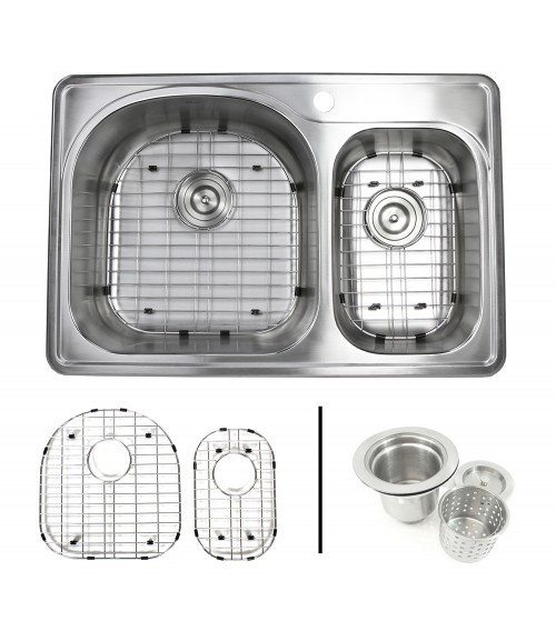 33 Inch Top-mount / Drop-in Stainless Steel 70/30 Double Bowl Kitchen Sink With 1 Faucet Hole - 18 Gauge with Accessories