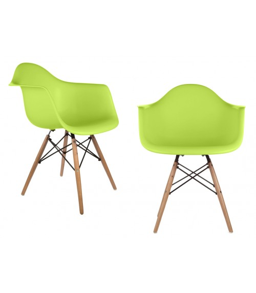 Set of 2 DAW Molded Light Green Plastic Dining Armchair with Wood Eiffel Legs