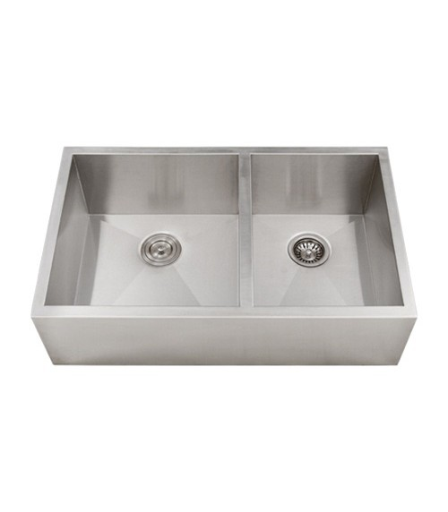 33 Inch Stainless Steel Narrow Flat Front Farmhouse Apron Kitchen Sink 60/40 Double Bowl