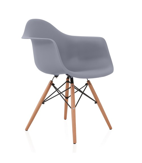 DAW Dark Gray Plastic Dining Armchair with Wood Eiffel Legs