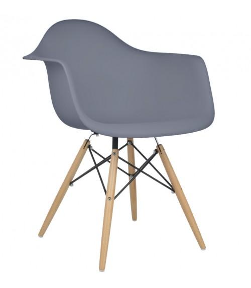 Eames Style DAW Dark Gray Plastic Dining Armchair with Wood Eiffel Legs